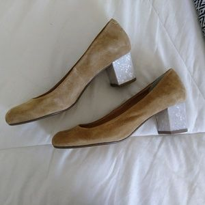 Shoes - ✨Tan and Silver Block Heels